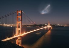 In this photo taken Sunday, Oct. 7, 2018 and provided by Justin Borja, a SpaceX Falcon 9 rocket launch is seen in the distance over the Golden Gate Bridge near Sausalito, Calif. When SpaceX launched a rocket carrying an Argentine Earth-observation satellite from California, both the night sky and social media lit up. People as far away as Phoenix and Sacramento posted photos of the rocket returning to its launch site on Sunday night in what was the first time SpaceX landed a first-stage booster back at its launch site at Vandenberg Air Force Base. (Justin Borja via AP)