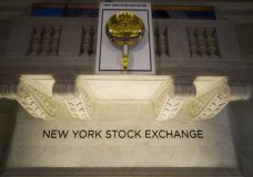 FILE- In this May 10, 2018, file photo, the opening bell hangs above the trading floor at the New York Stock Exchange. The U.S. stock market opens at 9:30 a.m. EDT on Friday, Oct. 5. (AP Photo/Mark Lennihan, File)