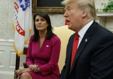 President Donald Trump speaks during a meeting with outgoing U.S. Ambassador to the United Nations Nikki Haley in the Oval Office of the White House, Tuesday, Oct. 9, 2018, in Washington. (AP Photo/Evan Vucci)