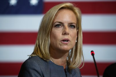 FILE - In this May 23, 2018 file photo, Secretary of Homeland Security Kirstjen Nielsen speaks during a roundtable on immigration policy with President Donald Trump at Morrelly Homeland Security Center, in Bethpage, N.Y. President Donald Trump has soured on Homeland Security Secretary Kirstjen Nielsen and she is expected to leave her job as soon as this week. That's according to two people who spoke to the Associated Press on condition of anonymity. (AP Photo/Evan Vucci)