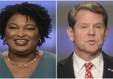 This combination of May 20, 2018, photos shows Georgia gubernatorial candidates Stacey Abrams, left, and Brian Kemp in Atlanta. (AP Photos/John Amis, File)