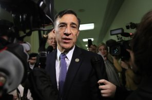 Rep. Darrell Issa, R-Calif., speaks to reporters as he walks to attend a House Judiciary and Oversight Committee closed-door interview with former FBI Director James Comey on Capitol Hill in Washington, Friday, Dec. 7, 2018. . (AP Photo/Manuel Balce Ceneta)