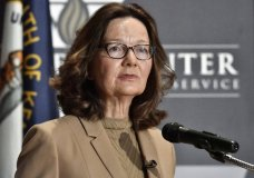 FILE - In this Sept. 24, 2018, file photo, CIA Director Gina Haspel addresses the audience in Louisville, Ky. Haspel is headed to Capitol Hill to brief Senate leaders Tuesday, Dec. 4, 2018, on the slaying of Saudi journalist Jamal Khashoggi as senators weigh their next steps in possibly punishing the longtime Middle East ally over the killing. (AP Photo/Timothy D. Easley, File)