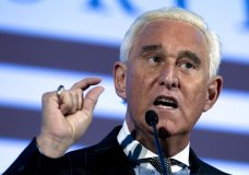 FILE - In this Dec. 6, 2018, file photo, Roger Stone speaks at the American Priority Conference in Washington. Stone, an associate of President Donald Trump, has been arrested in Florida. That's according to special counsel Robert Mueller's office, which says he faces charges including witness tampering, obstruction and false statements. Stone has been under scrutiny for months but has maintained his innocence. (AP Photo/Jose Luis Magana, File)