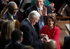 House Democratic Leader Nancy Pelosi of California, who is expected to lead the 116th Congress as speaker of the House, and House Minority Whip Steny Hoyer, D-Md., are applauded at the Capitol in Washington, Thursday, Jan. 3, 2019. (AP Photo/Carolyn Kaster)