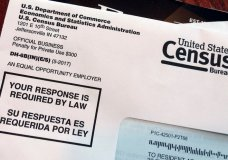 FILE - This March 23, 2018, file photo shows an envelope containing a 2018 census letter mailed to a U.S. resident as part of the nation's only test run of the 2020 Census. A trial will begin in federal court on Monday, Jan. 7, 2019, in San Francisco, over the Trump administration's decision to add a citizenship question to the 2020 U.S. Census. (AP Photo/Michelle R. Smith, File)