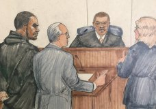 DDS NAMES OF LAWYERS - In this courtroom sketch, R&B singer R. Kelly, attorney Steve Greenberg and prosecutor Jennifer Gonzalez appears before Cook County Judge John Fitzgerald Lyke Jr. at the Leighton Criminal Courthouse, Saturday, Feb. 23, 2019 in Chicago. The judge has set Kelly's bond at $1 million saying that the amount equals $250,000 for each of the four people he's charged with sexually abusing. (AP Photo/Tom Gianni)