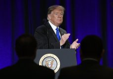 President Donald Trump speaks at the Major County Sheriffs and Major Cities Chiefs Association Joint Conference in Washington, Wednesday, Feb. 13, 2019. (AP Photo/Susan Walsh)
