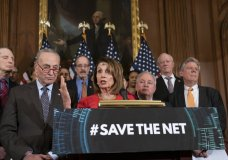 "Speaker of the House Nancy Pelosi, D-Calif., joined by Senate Minority Leader Chuck Schumer, D-N.Y., left, announces the ""Save The Internet Act,"" congressional Democrats' plan to reinstate ""net neutrality"" rules that President Donald Trump repealed in 2017, during an event at the Capitol in Washington, Wednesday, March 6, 2019. The bill is sponsored by Rep. Mike Doyle, D-Pa., right, with House Energy and Commerce Committee Chair Frank Pallone, D-N.J., far right. (AP Photo/J. Scott Applewhite)"