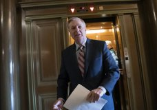 Senate Judiciary Committee Chairman Lindsey Graham, R-S.C., arrives at the Capitol to meet with reporters about the report by special counsel Robert Mueller, in Washington, Monday, March 25, 2019. (AP Photo/J. Scott Applewhite)
