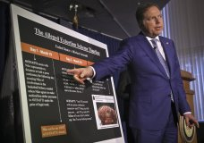 Geoffrey S. Berman, the United States attorney for the Southern District of New York, points to a chart during a press conference, outlining details that lead to extortion charges for attorney Michael Avenatti, on Monday March 25, 2019, in New York. (AP Photo/Bebeto Matthews)