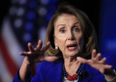 """n this March 8, 2019, photo, House Speaker Nancy Pelosi of Calif., speaks at the Economic Club of Washington in Washington. Pelosi is setting a high bar for impeachment of President Donald Trump, saying he is """"just not worth it"""" even as some on her left flank clamor to start proceedings (AP Photo/Manuel Balce Ceneta)"""