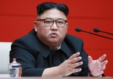 """FILE - In this April 10, 2019, file photo provided by the North Korean government, North Korean leader Kim Jong Un attends the 4th Plenary Meeting of the 7th Central Committee of the Workers' Party of Korea in Pyongyang. North Korea has test-fired a """"new-type tactical guided weapon,"""" its state media announced Thursday, April 18, 2019, a move that could be an attempt to register the country's displeasure with currently deadlocked nuclear talks with the United States without causing those coveted negotiations to collapse. (Korean Central News Agency/Korea News Service via AP, File)"""
