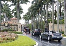 President Donald Trump and his accompanying motorcade vehicles arrive at Trump International Golf Club, Friday, April 19, 2019 in West Palm Beach, Fla. (AP Photo/Pablo Martinez Monsivais)