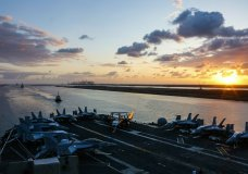 n this Thursday, May 9, 2019 photo released by the U.S. Navy, the Nimitz-class aircraft carrier USS Abraham Lincoln transits the Suez Canal in Egypt. The aircraft carrier and its strike group are deploying to the Persian Gulf on orders from the White House to respond to an unspecified threat from Iran. (Mass Communication Specialist Seaman Dan Snow, U.S. Navy via AP)