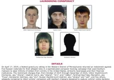 This undated poster released by the FBI includes five Russian fugitives that have been charged in connection with malicious software attacks that infected tens of thousands of computers worldwide and caused more than $100 million in financial losses. (FBI Pittsburgh Field Office via AP)