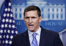 FILE - In this Feb. 1, 2017 file photo, National Security Adviser Michael Flynn speaks during the daily news briefing at the White House, in Washington. House intelligence committee has issued subpoenas for former national security adviser Michael Flynn and Rick Gates, a former Trump campaign aide. (AP Photo/Carolyn Kaster)