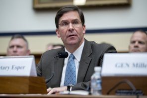 FILE - In this April 2, 2019, file photo, Secretary of the Army Mark Esper speaks during a House Armed Services Committee budget hearing on Capitol Hill in Washington. President Donald Trump on June 18, named Esper as acting Defense Secretary. (AP Photo/Andrew Harnik)