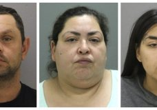 FILE - This combination of booking photos provided by the Chicago Police Department on Thursday, May 16, 2019 shows from left, Pioter Bobak, 40; Clarisa Figueroa, 46; and Desiree Figueroa, 24. Spokeswomen for the family of a slain Chicago woman whose baby was cut from her womb with a butcher knife says the infant boy has died. Family spokeswoman Cecilia Garcia confirmed a family statement posted on Facebook that 19-year-old Marlen Ochoa-Lopez's baby died Friday, June 14 at Christ Medical Center in Oak Lawn. Clarisa Figueroa and her 24-year-old daughter, Desiree Figueroa, have been charged with murder in Ochoa-Lopez's death. Clarisa Figueroa's boyfriend, Piotr Bobak, is charged with concealing a homicide. (Chicago Police Department via AP)