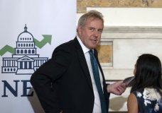 """FILE - In this Friday, Oct. 20, 2017, file photo, British Ambassador Kim Darroch hosts a National Economists Club event at the British Embassy in Washington. Britain's ambassador to the United States resigned Wednesday, July 10, 2019, just days after diplomatic cables criticizing President Donald Trump caused embarrassment to two countries that often celebrate having a """"special relationship."""" The resignation of Kim Darroch came a day after Trump lashed out at him on Twitter describing him as """"wacky"""" and a """"pompous fool"""" after leaked documents revealed the envoy's dim view of Trump's administration. (AP Photo/Sait Serkan Gurbuz, File)"""