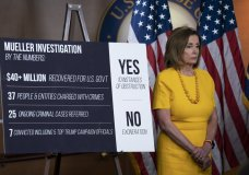 Speaker of the House Nancy Pelosi, D-Calif., stands beside a chart during a newss conference following the back-to-back hearings with former special counsel Robert Mueller who testified about his investigation into Russian interference in the 2016 election, on Capitol Hill in Washington, Wednesday, July 24, 2019. (AP Photo/J. Scott Applewhite)