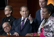 House Judiciary Committee Chairman Jerrold Nadler, D-N.Y., and Democratic members of that panel, speak to reporters about testimony from former special counsel Robert Mueller and their plan to continue to investigate President Donald Trump and Russia's interference in the election, at the Capitol in Washington, Friday, July 26, 2019. From left with Nadler are Rep. Steve Cohen, D-Tenn., Rep. Madeleine Dean, D-Pa., Rep. Sheila Jackson Lee, D-Texas, and Rep. Eric Swalwell, D-Calif. (AP Photo/J. Scott Applewhite)
