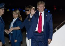 President Donald Trump and first lady Melania Trump arrive at Andrews Air Force Base, Md., Tuesday, Aug. 27, 2019, for a short trip to the White House after returning from the G-7 Summit in Biarritz, France (AP Photo/Andrew Harnik)