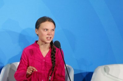 Environmental activist Greta Thunberg, of Sweden, addresses the Climate Action Summit in the United Nations General Assembly, at U.N. headquarters, Monday, Sept. 23, 2019. (AP Photo/Jason DeCrow)