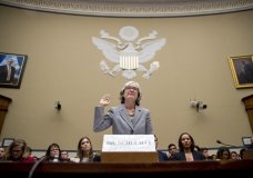 CDC Principal Deputy Secretary Dr Anne Schuchat is sworn in as she appears before a House Oversight subcommittee hearing on lung disease and e-cigarettes on Capitol Hill in Washington, Tuesday, Sept. 24, 2019. (AP Photo/Andrew Harnik)