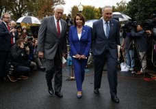 Speaker of the House Nancy Pelosi of Calif., center, Senate Minority Leader Sen. Chuck Schumer of N.Y., right, and House Majority Leader Steny Hoyer of Md., walk from the microphones after speaking with reporters following a meeting with President Donald Trump at the White House, Wednesday, Oct. 16, 2019, in Washington. (AP Photo/Evan Vucci)