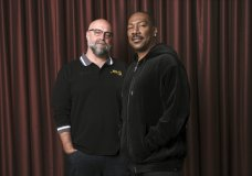 "FILE - This Sept. 7, 2019 file photo shows Eddie Murphy, right, star of the film ""Dolemite Is My Name,"" with director Craig Brewer at the Shangri-La Hotel during the Toronto International Film Festival in Toronto. (Photo by Chris Pizzello/Invision/AP, File)"