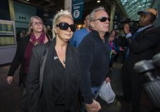 Charlotte Charles, left, mother of British teenager Harry Dunn, and her husband Bruce Charles, arrive at Union Station in Washington, Tuesday, Oct. 15, 2019. The family of a British teenager killed in a car crash involving an American diplomat's wife was headed to the White House on Tuesday for a meeting with senior administration officials. (AP Photo/Manuel Balce Ceneta)