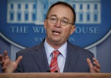"""FILE - In this Oct. 17, 2019 file photo, acting White House chief of staff Mick Mulvaney speaks in the White House briefing room in Washington. House impeachment investigators have asked Mulvaney to testify about his """"first-hand knowledge"""" of President Donald Trump's dealings with Ukraine. (AP Photo/Evan Vucci)"""