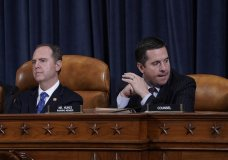 House Intelligence Committee Chairman Adam Schiff, D-Calif., left, with Rep. Devin Nunes, R-Calif, the ranking member, concludes a day of testimony by key witnesses as it probes President Donald Trump's efforts to tie U.S. aid for Ukraine to investigations of his political opponents, on Capitol Hill in Washington, Wednesday, Nov. 20, 2019. (AP Photo/J. Scott Applewhite)