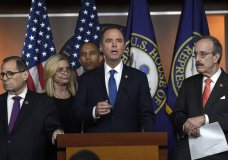 House Intelligence Committee Chairman Adam Schiff, D-Calif., second from right, speaks during a news conference on Capitol Hill in Washington, Thursday, Oct. 31, 2019. Schiff is joined by, from left, House Judiciary Committee Chairman Jerrold Nadler, D-N.Y., House Oversight and Government Reform Committee acting chair Carolyn Maloney, D-N.Y., House Democratic Caucus Chairman Hakeem Jeffries, D-N.Y., and House Foreign Affairs Committee Chairman Eliot Engel, D-N.Y. (AP Photo/Susan Walsh)