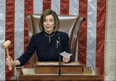 ouse Speaker Nancy Pelosi of Calif., announces the passage of the first article of impeachment, abuse of power, against President Donald Trump by the House of Representatives at the Capitol in Washington, Wednesday, Dec. 18, 2019. (House Television via AP)