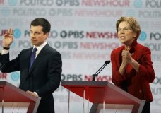 Democratic presidential candidate Sen. Elizabeth Warren, D-Mass., right, speaks beside South Bend Mayor Pete Buttigieg during a Democratic presidential primary debate Thursday, Dec. 19, 2019, in Los Angeles. (AP Photo/Chris Carlson)