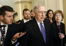 Senate Majority Leader Mitch McConnell of Ky., speaks with reporters after walking off the Senate floor, Thursday, Dec. 19, 2019, on Capitol Hill in Washington. (AP Photo/Patrick Semansky)