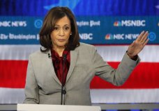 FILE - In this Nov. 20, 2019 file photo, Democratic presidential candidate Sen. Kamala Harris, D-Calif., speaks during a Democratic presidential primary debate in Atlanta. Harris, was once considered a front-runner in the crowded Democratic field, is expected to end her campaign for the Democratic presidential nomination, according to a campaign official.. (AP Photo/John Bazemore)