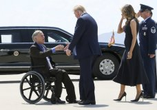 """FILE - In this Aug. 7, 2019 file photo, President Donald Trump and Melania Trump greet Texas Gov. Greg Abbott after arriving in El Paso, Texas. Abbott says the state will reject the re-settlement of new refugees, becoming the first state known to do so under a recent Trump administration order. In a letter released Friday, Jan, 10, 2020, Abbott wrote that Texas """"has been left by Congress to deal with disproportionate migration issues resulting from a broken federal immigration system."""" He added that Texas, which typically takes in thousands of refugees each year, has done """"more than its share."""" Governors in 42 other states have said they will consent to allowing in more refugees, according to the Lutheran Immigration and Refugee Service.(Mark Lambie/The El Paso Times via AP, File)"""
