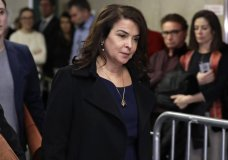 Actress Annabella Sciorra returns after a lunch break in Harvey Weinstein's rape trial, Thursday, Jan. 23, 2020, in New York. (AP Photo/Richard Drew)