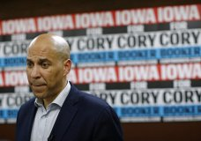 FILE - In this Jan. 9, 2020 file photo, Democratic presidential candidate Sen. Cory Booker, D-N.J., speaks with attendees after a campaign event in Mount Vernon, Iowa. Booker has dropped out of the presidential race after failing to qualify for the December primary debate. (AP Photo/Patrick Semansky)