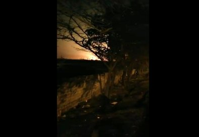 This image taken from a video on Wednesday Jan. 8, 2020 shows a light in the sky which appears to show the Ukrainian jetliner plane on fire and crashing into ground. Western leaders have said the plane appeared to have been unintentionally hit by a surface-to-air missile near Tehran, just hours after Iran launched a series of ballistic missiles at two US bases in Iraq to avenge the killing of its top general in an American airstrike last week. Iran on Friday Jan. 10, 2020, denied the allegations. (UGC via AP)