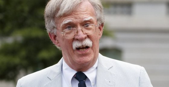 FILE - In this July 31, 2019 file photo, then National security adviser John Bolton speaks to media at the White House in Washington. Bolton says he's 'prepared to testify' in Senate impeachment trial if subpoenaed (AP Photo/Carolyn Kaster)