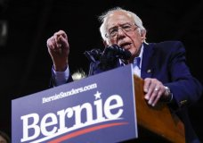 Democratic presidential candidate Sen. Bernie Sanders, I-Vt., speaks during a primary night election rally in Essex Junction, Vt., Tuesday, March 3, 2020. (AP Photo/Matt Rourke)