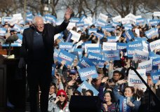 Democratic presidential candidate Sen. Bernie Sanders, I-Vt., waves to supporters after speaking at a campaign rally in Chicago's Grant Park Saturday, March 7, 2020. (AP Photo/Charles Rex Arbogast)