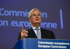 European Commission's Head of Task Force for Relations with the United Kingdom Michel Barnier speaks during a media conference at EU headquarters in Brussels, Thursday, March 5, 2020. The Brexit negotiators have said there are many divergences between the 27-country bloc and the UK after the first round of negotiations aimed at defining their future relationship. (AP Photo/Virginia Mayo)