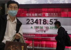 A man wearing a face mask walks past a bank's electronic board showing the Hong Kong share index at Hong Kong Stock Exchange Wednesday, March 25, 2020. Shares have advanced in Asia after the Dow Jones Industrial Average surged to its best day since 1933 as Congress and the White House neared a deal on Tuesday to inject nearly $2 trillion of aid into an economy ravaged by the coronavirus. (AP Photo/Vincent Yu)