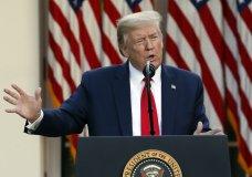 President Donald Trump speaks about the coronavirus in the Rose Garden of the White House, Monday, April 27, 2020, in Washington. (AP Photo/Alex Brandon)