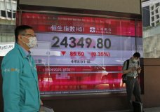 Men wearing face masks stand in front of an electronic board showing Hong Kong share index outside a local bank in Hong Kong, Wednesday, April 15, 2020. Asian stocks edged lower Wednesday after the International Monetary Fund said the global economy will suffer its worst year since the Great Depression of the 1930s due to the coronavirus pandemic. (AP Photo/Kin Cheung)